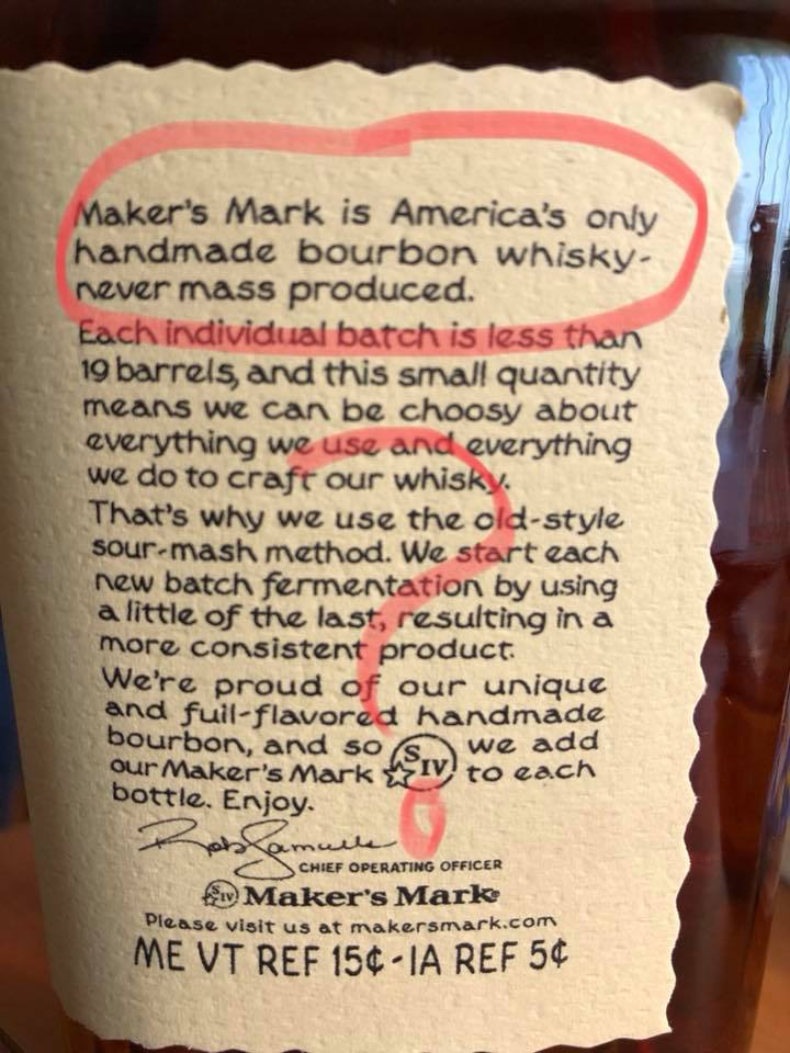 Maker's Mary Never massed produced